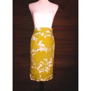 PRADA Yellow & White High Waisted Pencil Skirt